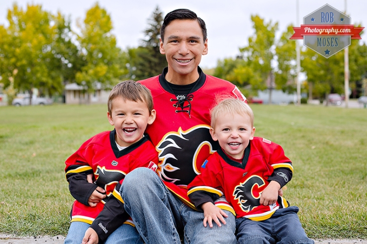 786 Daddy & Boys Calgary Flames famous hockey 2013 - Rob Moses Photography - Photography family brothers dad