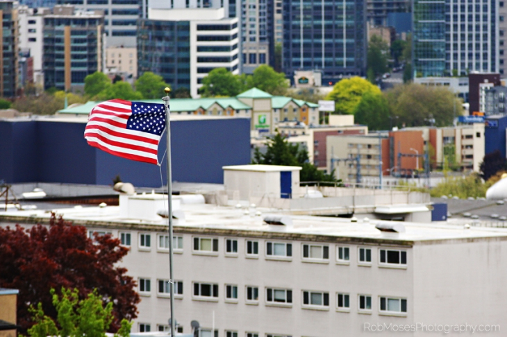 USA famous American Flag wind Seattle Washington America buildings city urban zoom - Rob Moses Photography