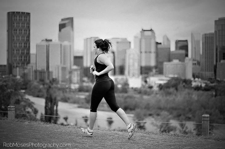 Woman Running jogging Skyline Calgary Canada Famous Celbrity beautiful girl Path River YYC BW Black & White - Rob Moses Photography