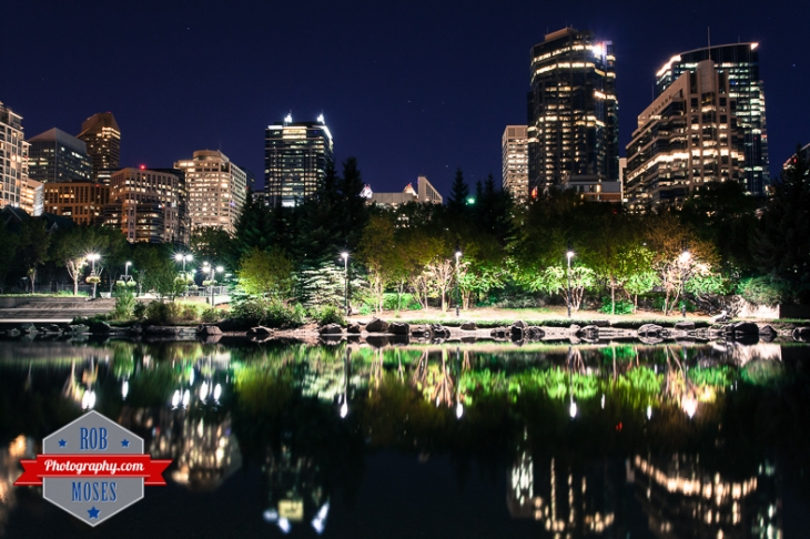 1 Princes Island inner famous city park Calgary Alberta Canada buildings reflection pond - Rob Moses Photography - Photographer