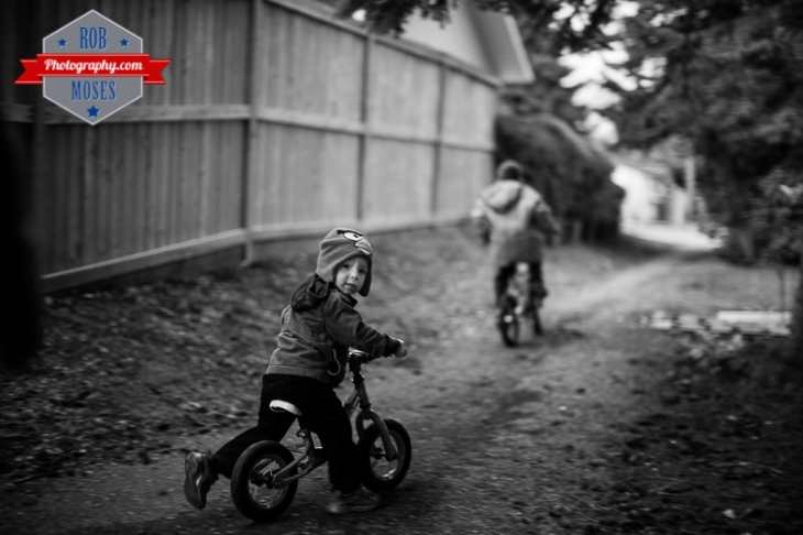 3 Kids kid child children bike ride fun bokeh evening night Canon 50L - Rob Moses Photography