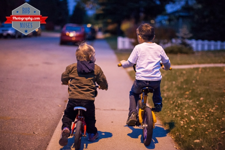 4 Kids kid child children bike ride fun bokeh evening night Canon 50L - Rob Moses Photography
