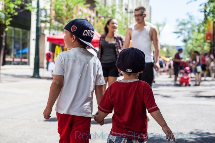 5 boys walking - City kid kids yyc urban children city life - Rob Moses Photography