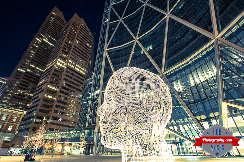Big Head Art Calgary Alberta Canada Bow skyscraper downtown uptown urban - Rob Moses Photography