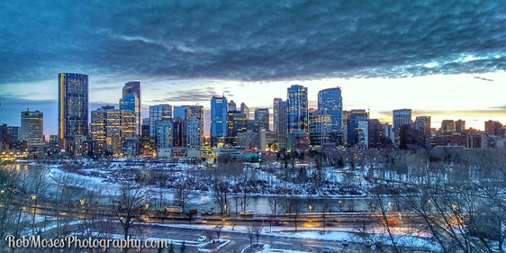 Calgary Alberta Canada City Skyline Winter - Rob Moses Photogarphy - HTC One Phone HDR Snapseed
