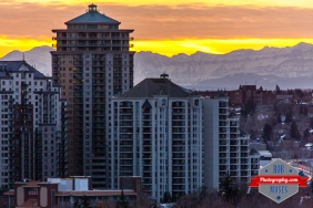 Calgary City Condo Apartment Buildings Rocky Mountains Rockies Canada Sunset - Rob Moses Photography - Famous urban landscape - Photographer