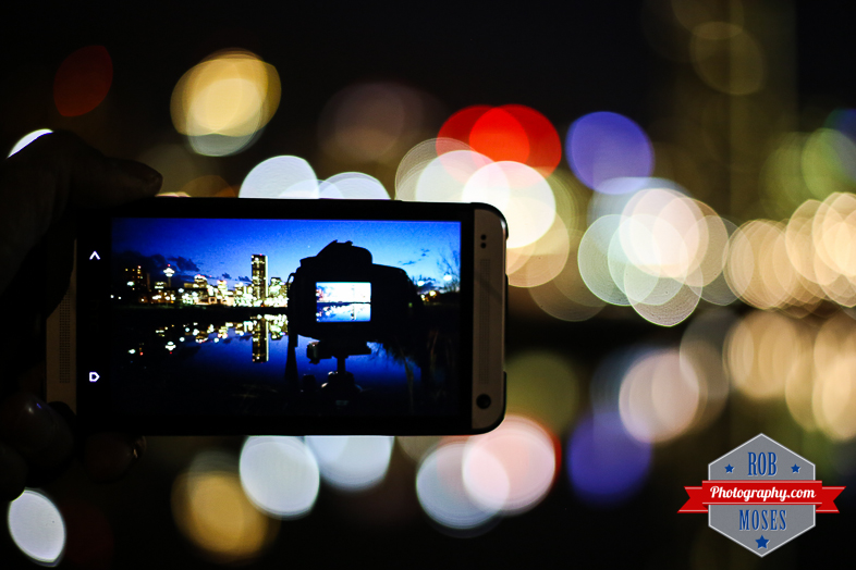 HTC ONE Calgary Alberta Canada Famous city Skyline water reflection Bokeh balls - Rob Moses Photography Photographer - Canon 5D3 5Diii 7D 5D mark iii 50mm