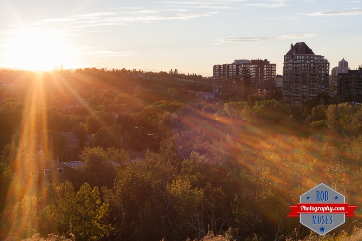 South Calgary fall neighbourhood Canada sun set flare golden hour - Rob Moses Photography