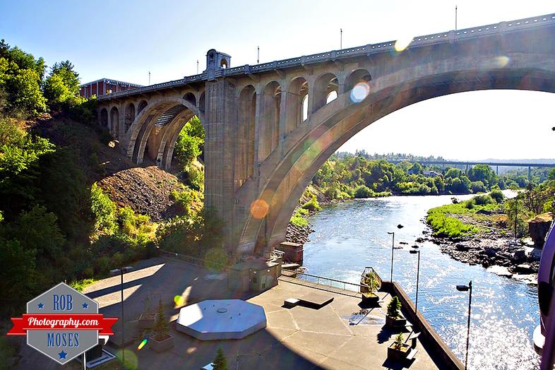 Spokane Bridge river sky ride sun flare Washington State usa WA - Rob Moses Photography