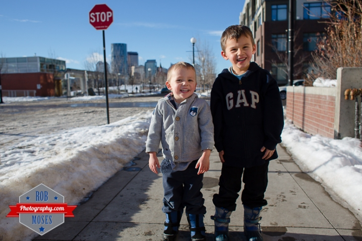 Children boys kids fun Calgary Winter Bridgeland yyc excited fun jumping running yahoo - Rob Moses Photography - Family-14