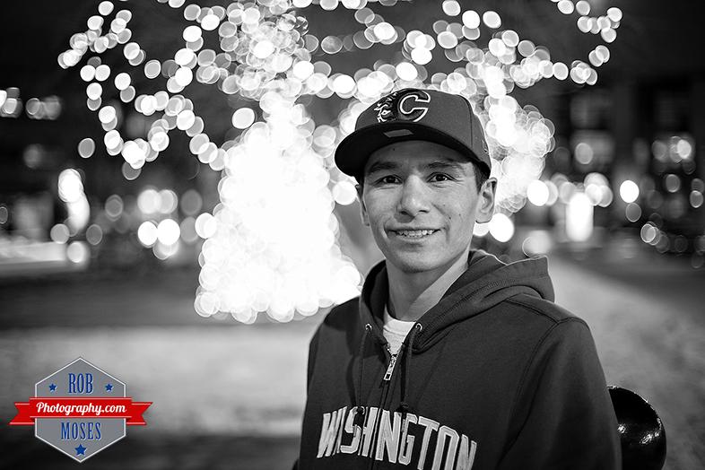 Selfie Self Portrait Bokeh christmas lights famou Calagary Canada YYC Washington State Flames UW - Rob Moses Photography - Photographer