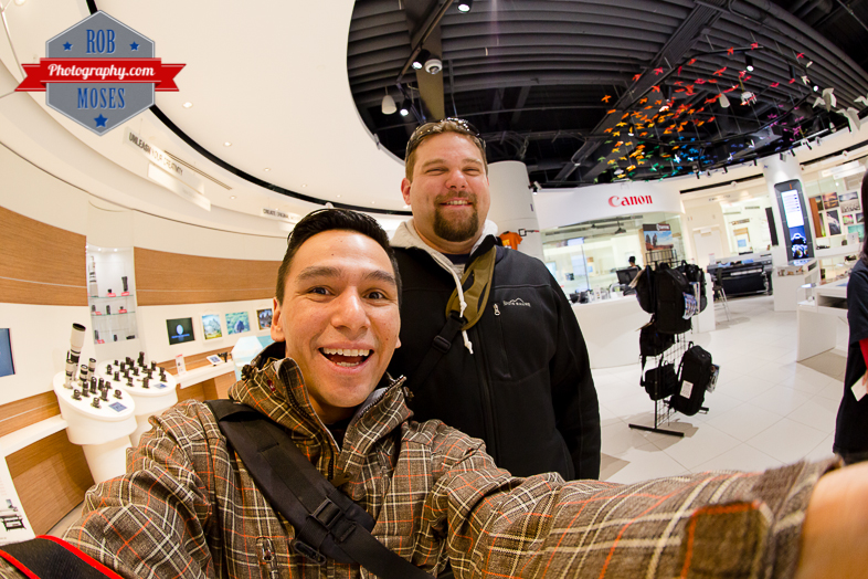 9 Canon Image Square Calgary Alberta Canada - Rob Moses Photography - Famous fisheye L dudes selfie photographers fun smile - Photographer