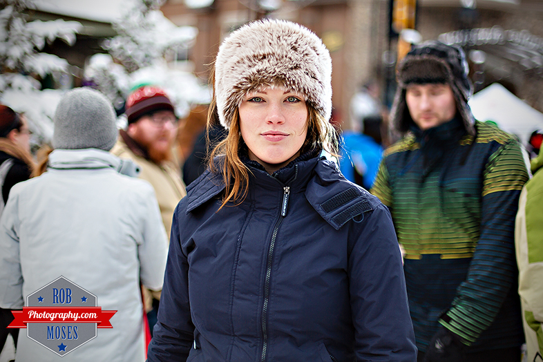 Banff Alberta Canada Beautiful woman girl famous fur hat bokeh - Rob Moses Photography - Street Photographer - Canadian American pretty winter