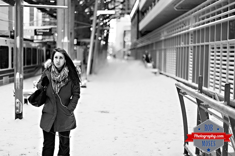 BW Girl woman winter walking downtown Calgary Canada subway train C-train snow snowblower street famous station - Rob Moses Photography - YYC Photographer