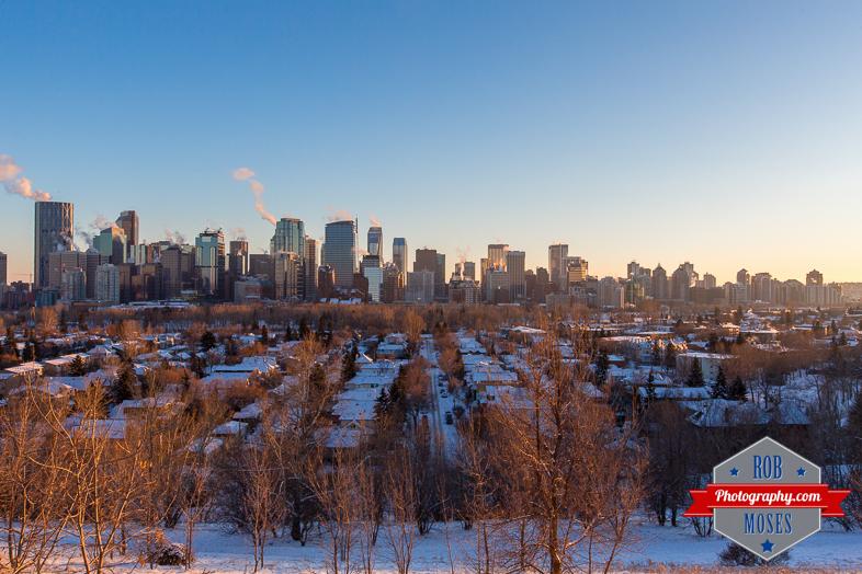 Calgary Skyline Winter YYC Alberta Canada Famous Sunnyside - Rob Moses Photography