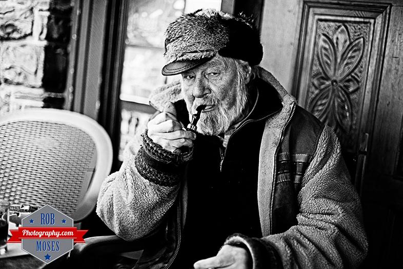 Old man smoking famous pipe elder timer senoir bokeh Geezer street portrait - Rob Moses Photography - Vancouver Seattle Calgary photographer