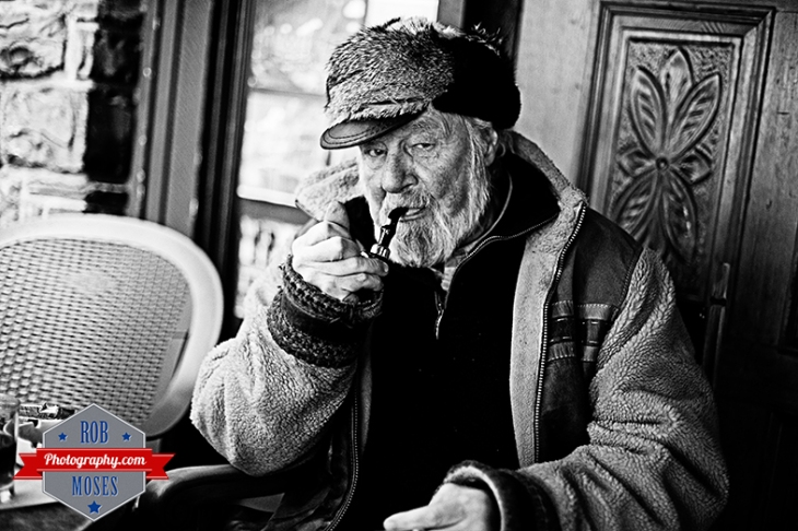 Old man smoking famous pipe elder timer senoir bokeh Geezer street portrait - Rob Moses Photography - Vancouver Seattle Calgary photographer