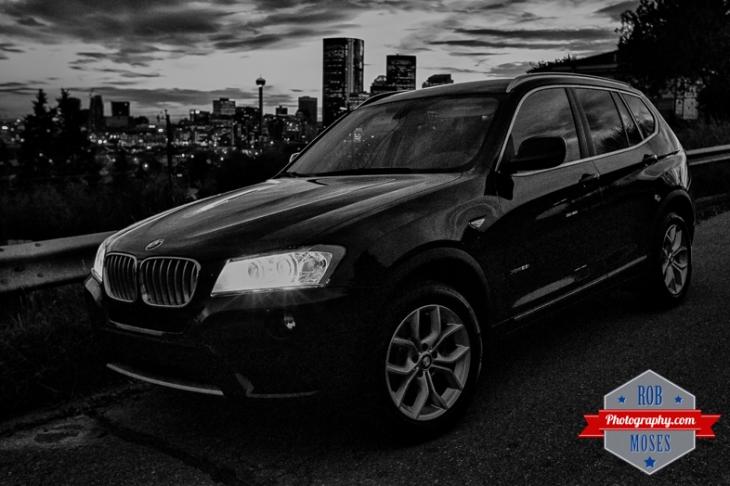 2014 BMW X3 Calgary skyline urban metro buildings Alberta Canada - Rob Moses Photography - Black and White Seattle Vancouver Photographer