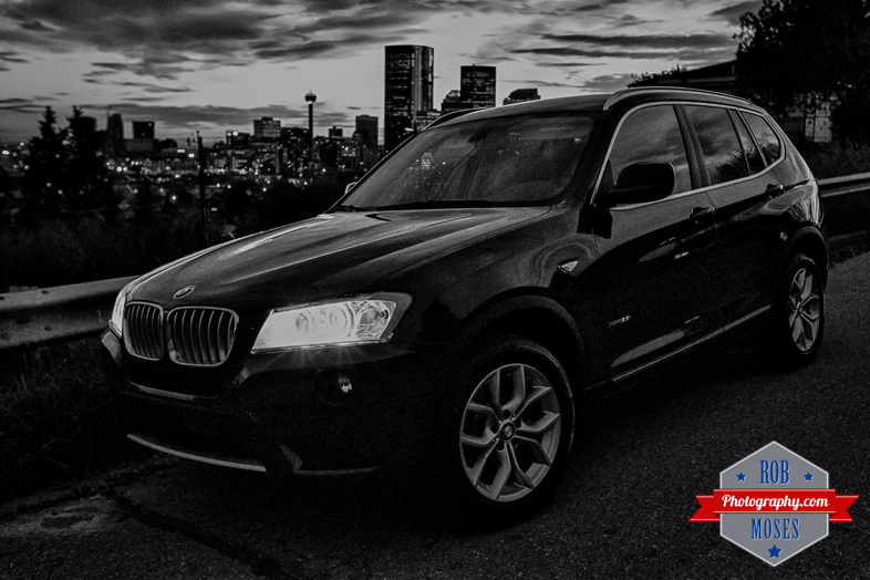 2014 BMW X3 Calgary skyline urban metro buildings Alberta Canada - Rob Moses Photography - Black and White Seattle Vancouver Photographer