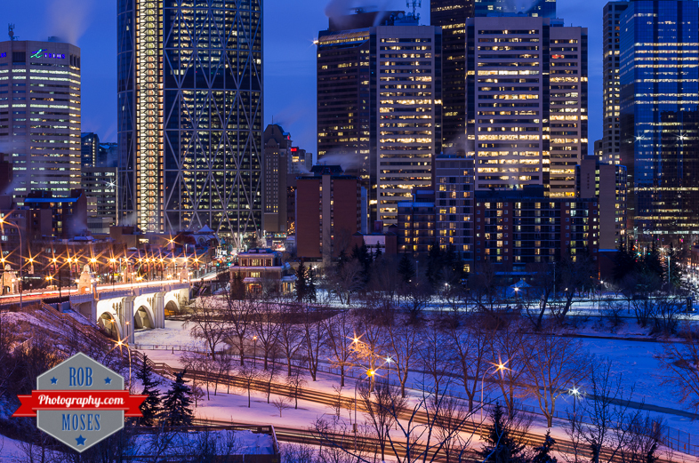 Calgary Alberta Canada Skyline downtown buildings bow river famous centre street bridge night YYC winter - Rob Moses Photography - Vancouver Seattle Photographer-1