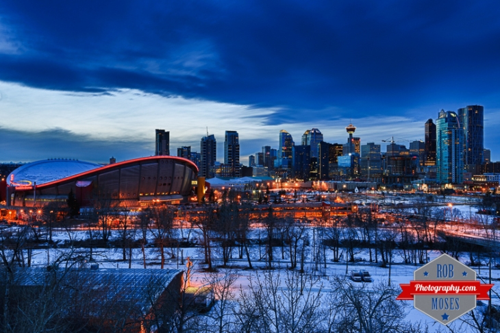 Calgary Skyline evening night skyline HDR winter sky chinook cloud famous saddledome NHL Arena alberta canada city urban metro big modern lights money oil gas - Rob Moses Photography - Vancouver Seattle Photographer