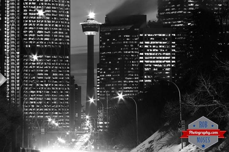 Calgary Tower Olympic Flame Fire Famous Tourch Olympics 2014 Canada Gold - urban city metro buildings building downtown sky black white bow centre street - Rob Moses Photography - Vancouver Seattle Spokane Washington