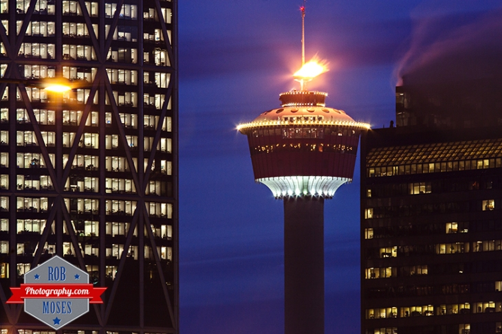 Calgary Tower Olympic Flame Fire Famous Tourch Olympics 2014 Canada Gold - urban city metro buildings building downtown sky - Rob Moses Photography - Vancouver Seattle Spokane Washington