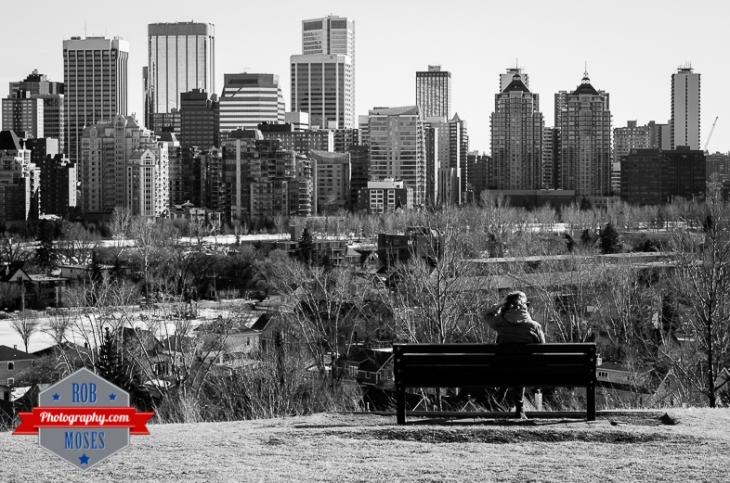 Calgary Alberta Skyline Street park buildings condos apartments girl woman bench urban city famous yyc - Rob Moses Photography - Vancouver Seattle Photographer Photographers-1