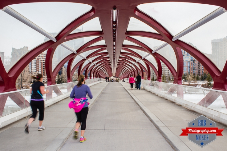 Calgary Famous Peace Bridge running runners jog jogging woman girls tunnle modern - Rob Moses Photography - Vancouver Seattle Photographer Photographers-1