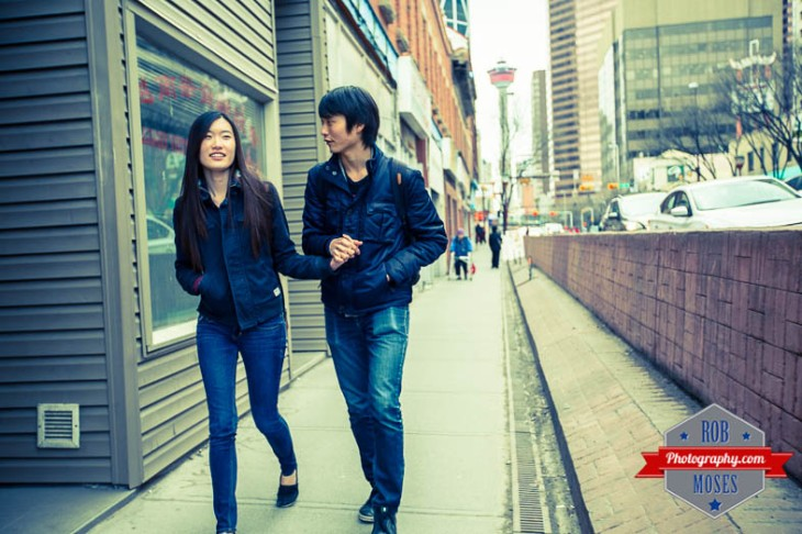 Calgary Street couple boyfriend girlfriend man woman sidewalk urban city chinatown chinese bokeh famous tower - Rob Moses Photography - Vancouver Seattle Photographer Photographers