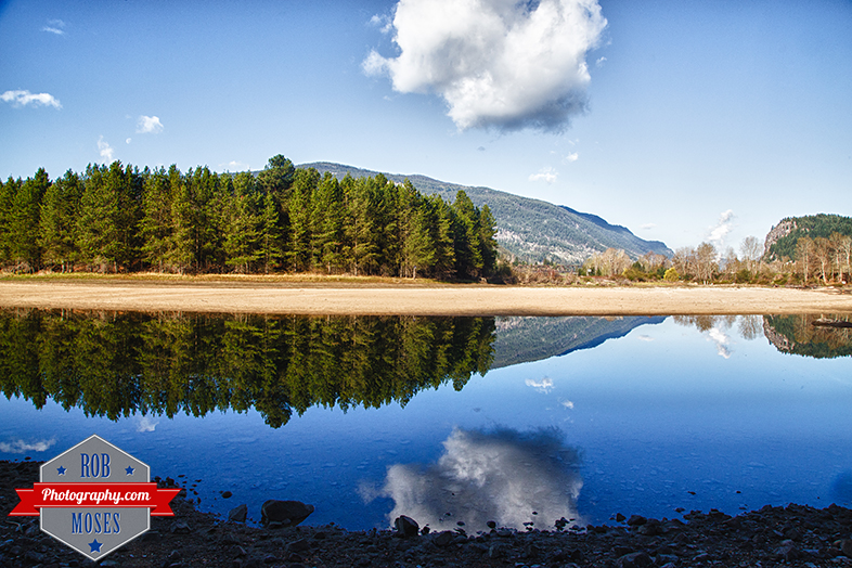 Castlegar BC British Columbia Canada sky island river water reflection sky cloud moon morning famous landscape - Rob Moses Photography - Seattle Vancouver Calgary Photographer Photographers