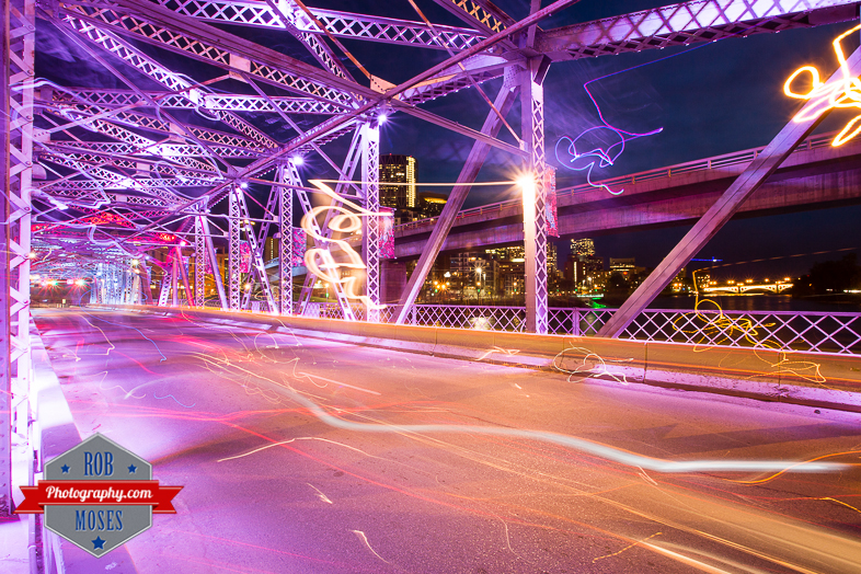 Calgary Alberta Canada old bridge night lights city yyc - Rob Moses Photography - Seattle Vancouver Calgary Photographer Native American Photographers
