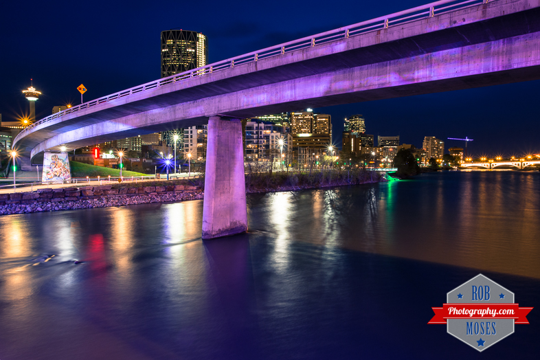 Calgary Bridge City buildings Bow River building tower overpass urban metro night long exposure famous lights - Rob Moses Photography - Seattle Vancouver Photographer Photographers