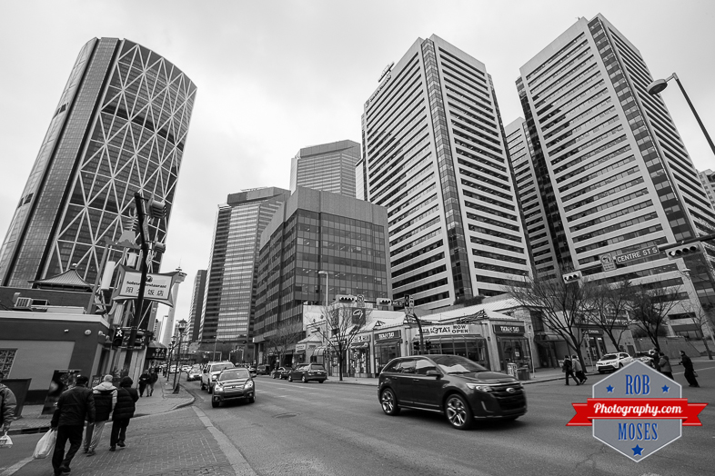 Calgary Centre Street 1st Alberta Canada YYC Downtown buildings skyscrapers chinatown traffic street - Rob Moses Photography - Seattle Vancouver Calgary Photographer Native American Photographers