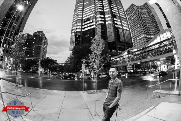 Canon 15mm fisheye 6D yyc downtown buildings sky night plus 15 overpass urban metro self portrait - Rob Moses Photography - Vancouver Seattle Calgary Photographer Photographer Native American Famous Tlingit Ojibawa Top Popular Best Canadian Lifestyle