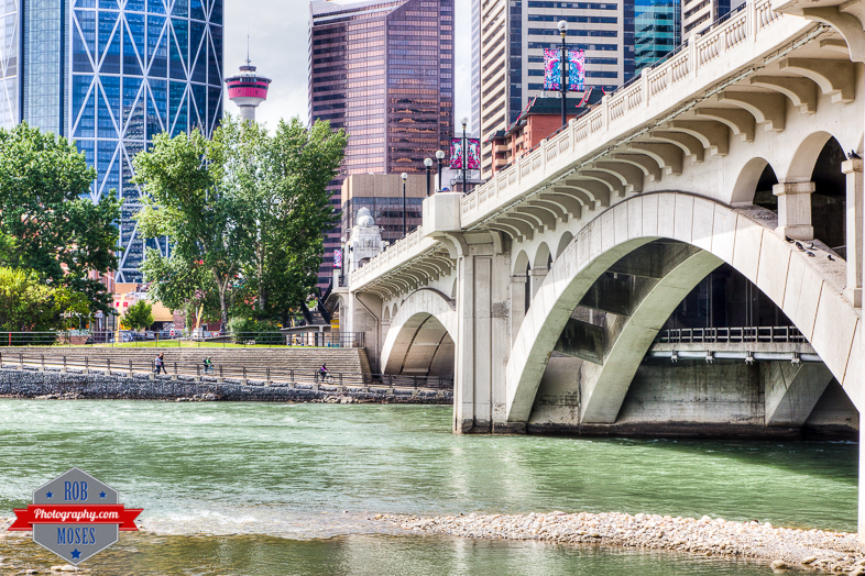 YYC Bow River centre street bridge tower buildings urban city metro modern - Rob Moses Photography - Vancouver Seattle Calgary Photographer Photographer Native American Famous Tlingit Ojibawa Top Popular Best Canadian Lifestyle