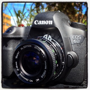 Canon 6D DSLR Camera Vivitar 28mm close focus RL Edition manul lens Nikon to Canon EOS mount adapter