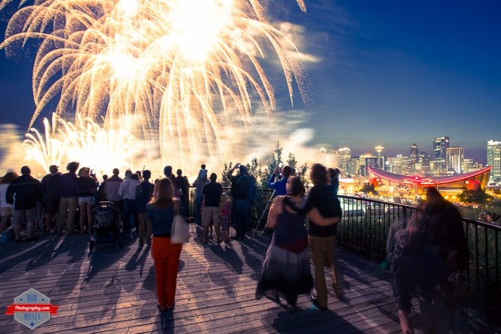 YYC Alberta Skyline Fireworks crowed people sky beautiful - Rob Moses Photography - Vancouver Seattle Calgary Photographer Photographer Native American Famous Tlingit Ojibawa Top Popular Best Canadian Lifestyle