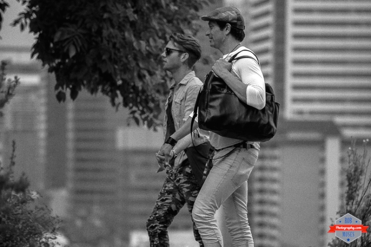men guys couple walking YYC urban city bokeh street - Rob Moses Photography - Vancouver Seattle Calgary Photographer Photographer Native American Famous Tlingit Ojibawa Top Popular Best Canadian Lifestyle-4
