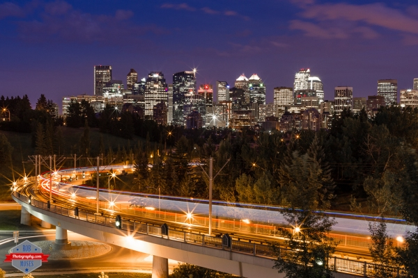 Twitter YYC Skyline subway train night sky long exposure urban city alberta Canada - Rob Moses Photography - Vancouver Seattle Calgary Photographer Photographer Native American Famous Tlingit Ojibawa Top Popular Best Canadian Lifestyle