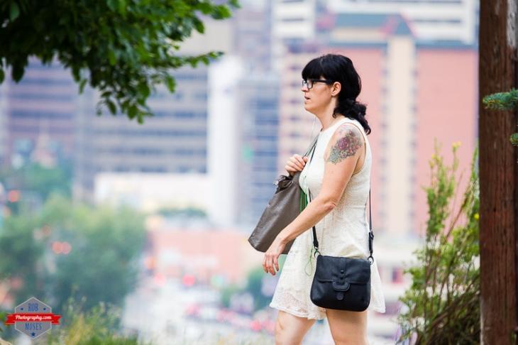 Woman Girl walking YYC urban city bokeh street - Rob Moses Photography - Vancouver Seattle Calgary Photographer Photographer Native American Famous Tlingit Ojibawa Top Popular Best Canadian Lifestyle-8