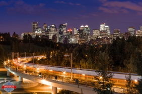 YYC Skyline subway train night sky long exposure urban city alberta Canada - Rob Moses Photography - Vancouver Seattle Calgary Photographer Photographer Native American Famous Tlingit Ojibawa Top Popular Best Canadian Lifestyle