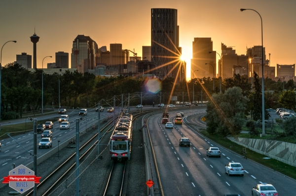1 YYC Memorial Street subway train skyline city urban sunset summer - Rob Moses Photography - Vancouver Seattle Calgary Photographer Photographer Native American Famous Tlingit Ojibawa Top Popular Best Canadian Lifestyle