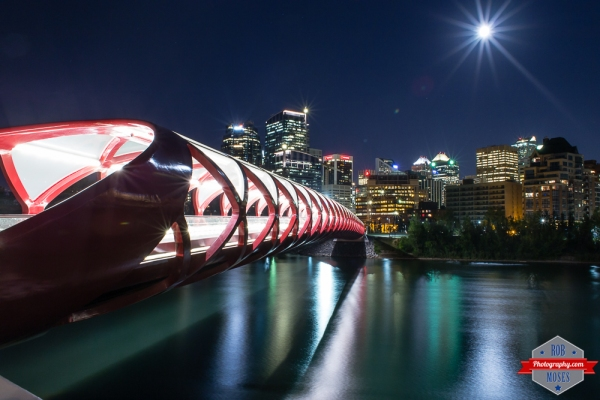 1 YYC Peace Bridge Bow River night urban city skyline sky moon beautiful awesome - Rob Moses Photography - Vancouver Seattle Calgary Photographer Photographers Native American Famous Tlingit Ojibawa Top Popular Best Good Canadian Awesome Lifestyle