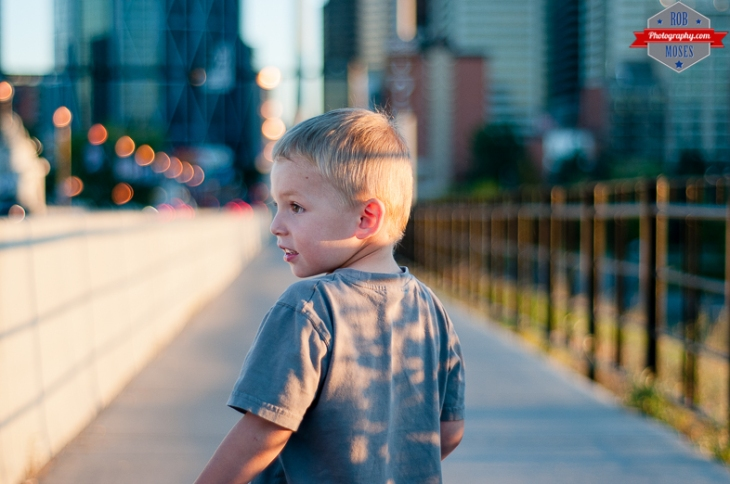 Blog Child boy kid Centre Street Bridge YYC Bokeh blur mix mixed half - Rob Moses Photography - Vancouver Seattle Calgary Photographer Photographer Native American Famous Tlingit Ojibawa Top Popular Best Canadian Lifestyle