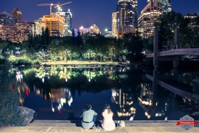 Couple Friends in Calgary YYC Skyline City Pond - Rob Moses Photography