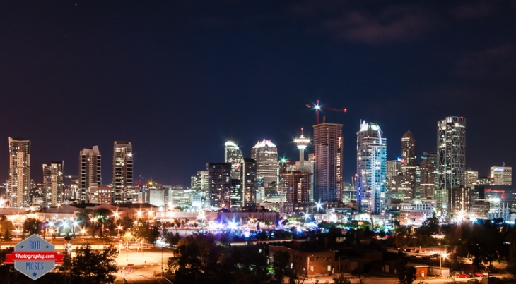 YYC Skyline night long exposure Nikon D300s Sigma city lights - Rob Moses Photography - Vancouver Seattle Calgary Photographer Photographer Native American Famous Tlingit Ojibawa Top Popular Best Canadian Lifestyle