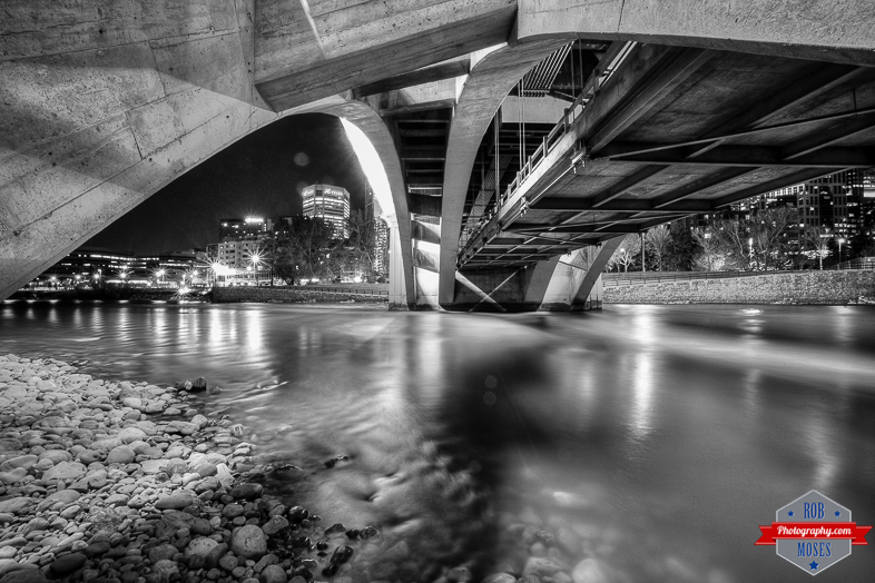 Under centre street bridge bow river black white night city yyc urban explorer rob