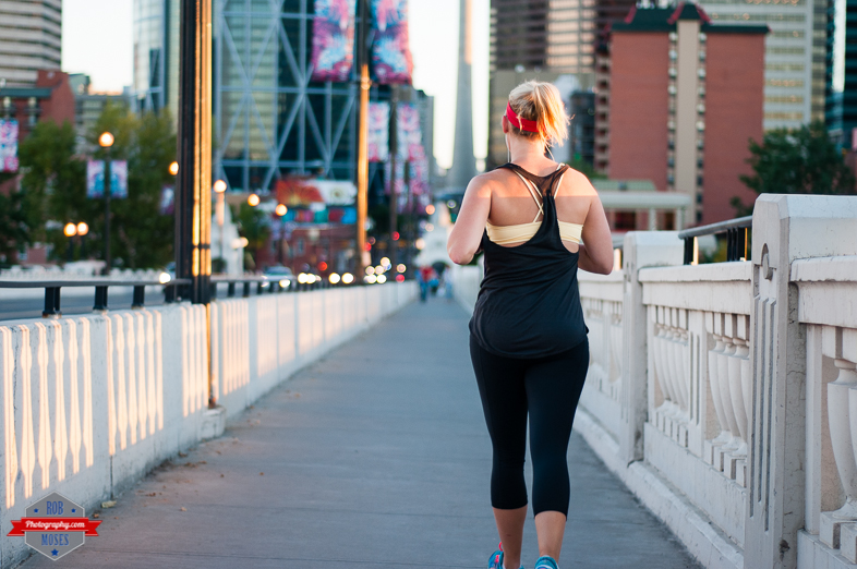 Woman running run jog jogging centre street bridge calgary yyc fit fitness bokeh - Rob Moses Photography - Vancouver Seattle Calgary Photographer Photographers Native American Famous Tlingit Ojibawa Top Popular Best Good Canadian Awesome Lifestyle