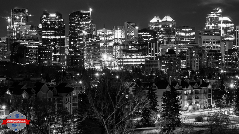 Blog YYC Kensington Sunnyside downtown uptown skyline city buildings black and white night - Rob Moses Photography -Calgary Photographer Photographers Native American Famous Tlingit Ojibawa Top Popular Best Good Canadian Awesome Lifestyle